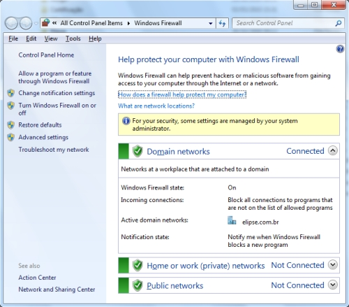 DCOM and Firewall Settings in Windows 7 for Elipse
