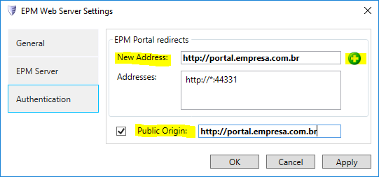 EPM Web Server Settings
