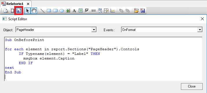 o editor de scripts do relatório pode ser usado para percorrer uma seção