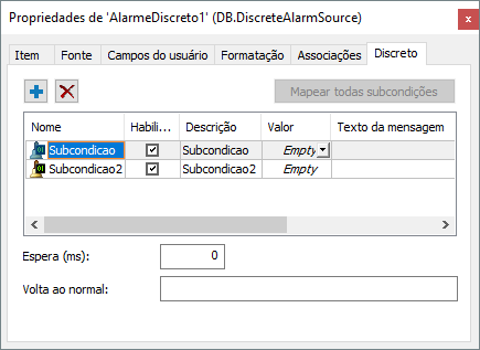 alterar mensagens de subcondições em tempo de execução